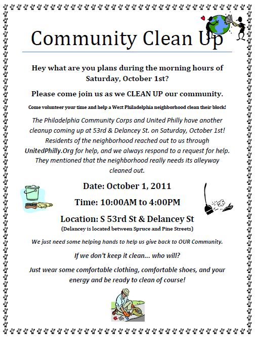 West Philly Cleanup flyer