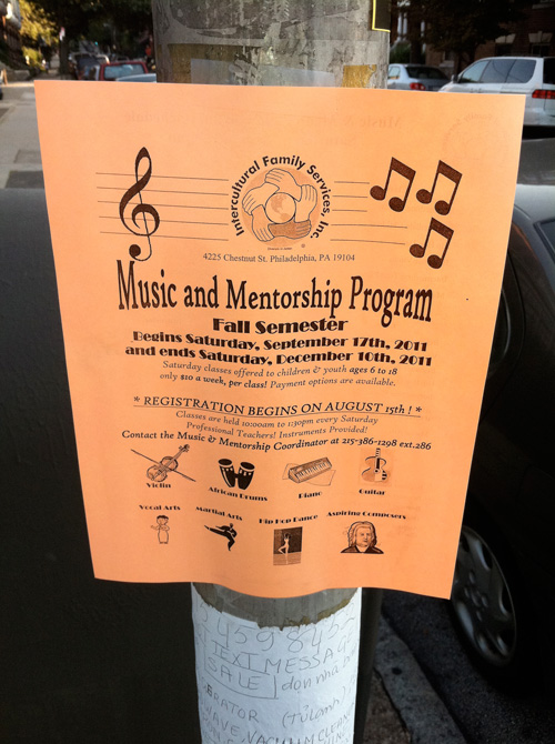 Music and mentorship program flyer
