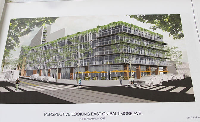 The proposed building looking east near the corner of 43rd and Baltimore.