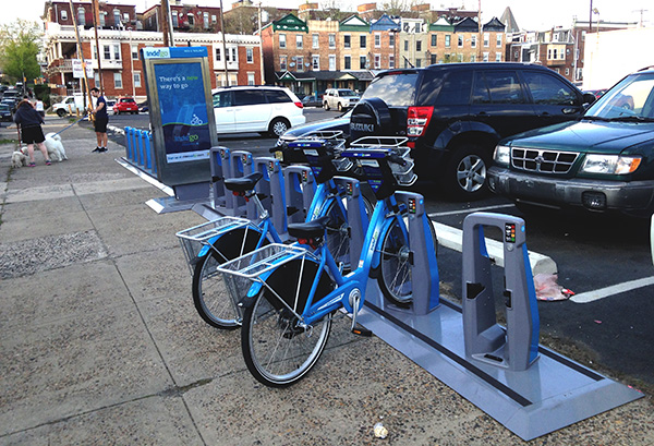 The Indego bike station at 44th and Walnut.